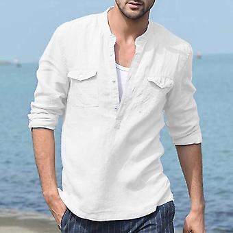 Nieuwe mannen 's zomer lange mouw katoen linnen casual ademende shirts