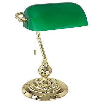 Eglo Banker cambió la luz del escritorio en vidrio verde y latón
