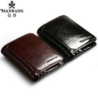 Manbang klassisk stil plånbok äkta läder män plånböcker kort manlig handväska kort hållare plånbok män mode hög kvalitet