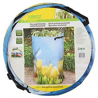 aufklappbarer Gartenabfallbeutel 120 Liter mit Blumenprint