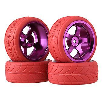 Purple 5 Spoke Wheel Rim & Red Arrow Tyre for RC1:10 On-road Car Pack of 4