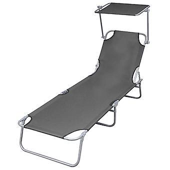 vidaXL sammenleggbar sofa med solbeskyttelse Stålgrå