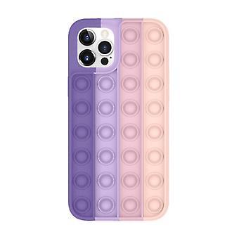 Lewinsky iPhone X Pop It Case - Silikon bubbel leksak fall anti stress omslag rosa