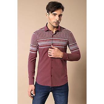 Printtipuupunainen viininpunainen paita