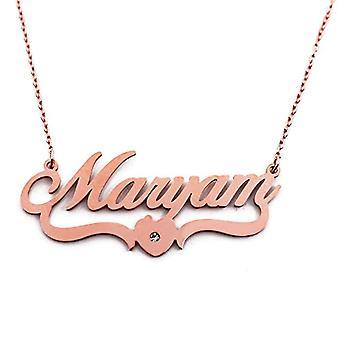 Kigu Maryam - Halsband med namn, anpassningsbart, hjärtformat, rosenguld pläterat
