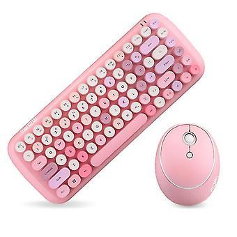 Pink mofii wireless mini candy keyboard mouse combo set mix color 2.4g cai760