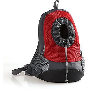 S câine roșu transportator rucsac reglabil plasă sac pentru animale de companie cap afară pentru exterior dt7085