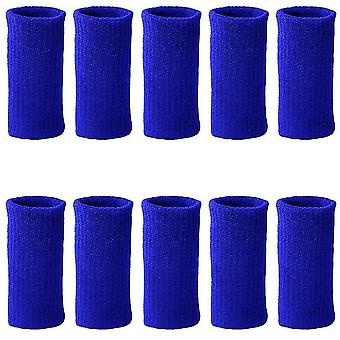 10Pcs כחול שרוולי אצבע קיץ ספורט דלקת פרקים אלסטית מפרק פרקי האצבעות מגן dt6563