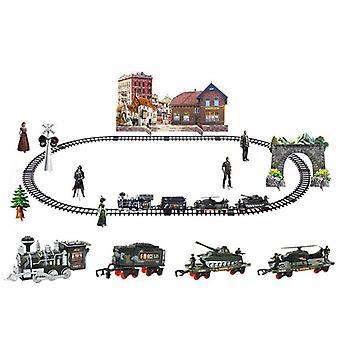 الأطفال الكهربائية قطار التحكم عن بعد السكك الحديدية مجموعة محاكاة Diy نموذج التجميع
