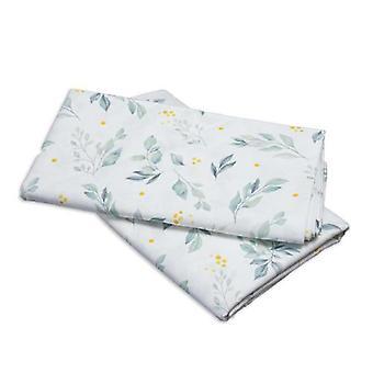 Puckdaddy House Bed Curtain Flora 146x298cm Uppsättning av 2 tyghimmel med kvistmönster i grönt