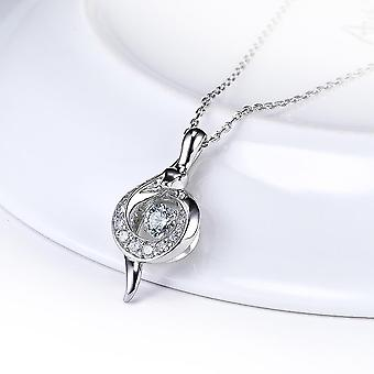 Sterling stříbrný přívěsek otočný zirconia jiskřivý přívěsek náhrdelník 18 palec