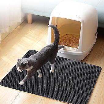 Pet Cat Litter Mat Waterproof EVA Double Layer Cat Litter Trapping Pet Litter Box Mat Clean Pad