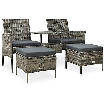 vidaXL 2 places canapé-jardin avec table à thé et tabouret poly rottan gris