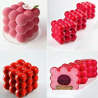 6 cavidades 3D Cubo vela yeso molde de silicona cuadrado burbuja postre molde bricolaje