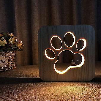Usb Night Light In Carved Wooden Pattern 3d Animal Paw Play Basketball.(Dog)
