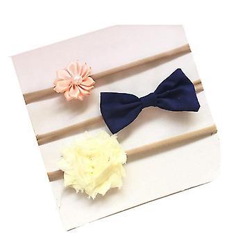 3SET 3pcs/set Newborn headband skinny soft nylon headband chiffon flower baby girl headband newborn