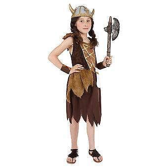 Viking Girl Costume, Brown (Medio)