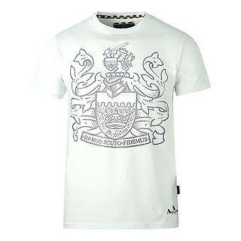 Aquascutum Stor Pixeled Aldis Logo Vit T-Shirt