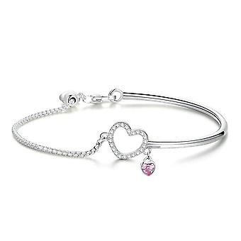 Romantic Silver plating Heart Pink Chain Link Bangles Bracelets for Women Jewelry
