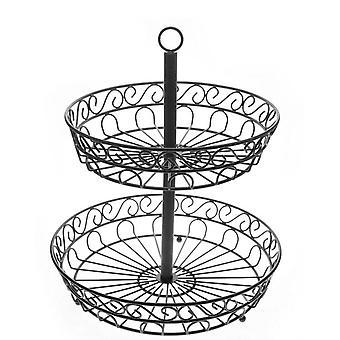 2 Tier Fruit Basket Fruits Holder Detachable Iron Vegetable Storager