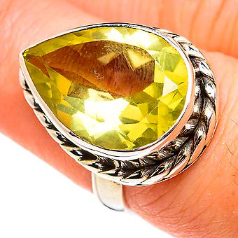 Faceted Citrine Ring Size 7 (925 Sterling Silver)  - Handmade Boho Vintage Jewelry RING77409