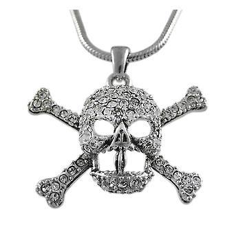 Горный хрусталь череп & скрещенные ожерелье змея