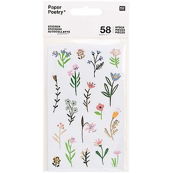 Flower Sticker Sheets x 4 Craft Gold Foil 58 Pieces