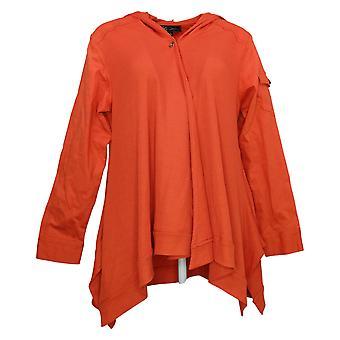 DG2 By Diane Gilman Damen Twill & Strick Draped Front Jacket Orange