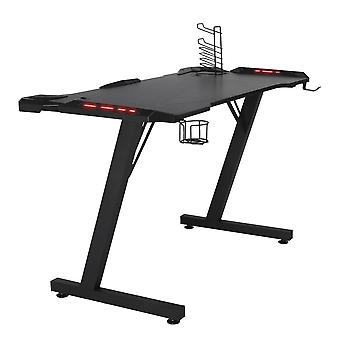 Seeunique Z Shaped Gaming Table With Lighting, Controller Stand, Cup Holder & Headphone Hook,  For Home Office