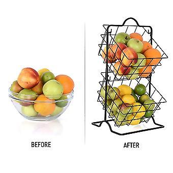 Organizador de estantes de almacenamiento de 2 niveles para artículos de tocador de frutas y verduras Artículos para el hogar| Soportes de almacenamiento