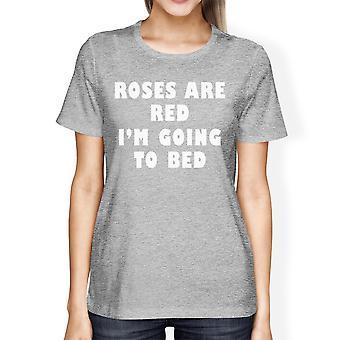 Rosor är röda Womens Heather grå T-shirt gåva idé för sömn älskare