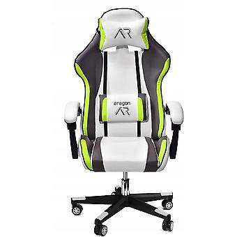 Fotel gamingowy ergonomiczny biało-szaro-limonkowy fotel biurowy ze skóry EKOLOGICZNEJ
