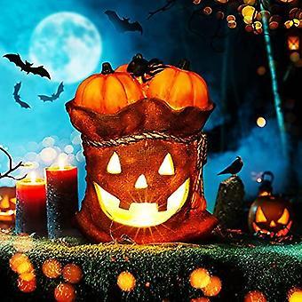 Halloween Decorations, Scary Halloween Decor Pumpkin Sack Light Battery Powered, Resin Pumpkin Statue Halloween Props For Kids Indoor Outdoor Home Par