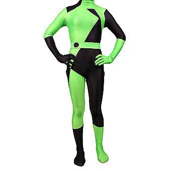 Kim Possible Female Shego Costume Super Villain Halloween Lycra Cosplay Shego Costume Body Suit Jumpsuit Women/kids
