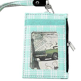 (Green)Badge Holder Grid Pu Leather 4 Slots With Zip Pocket - 4 Colors Option