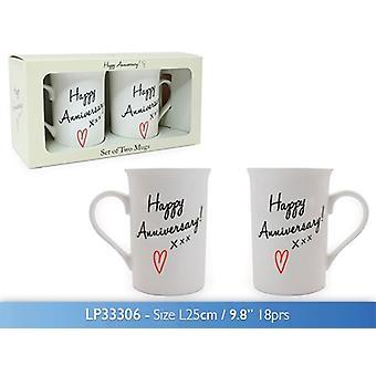 Conjunto de 2 feliz aniversário chá café canecas presente box porcelana fina
