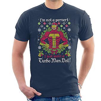 Hombre Turbo no un pervertido el Jingle de Navidad de punto camiseta de los hombres