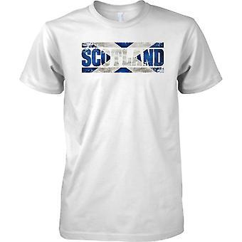 Bandera de Escocia Grunge país nombre efecto - aspa - para hombre T Shirt
