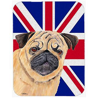 Pug with English Union Jack British Flag Glass Cutting Board Large Size