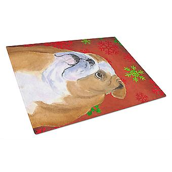 Bulldog English Red and Green Snowflakes Christmas Glass Cutting Board Large