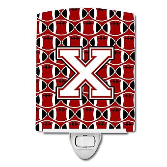 Letter X Football Cardinal and White Ceramic Night Light