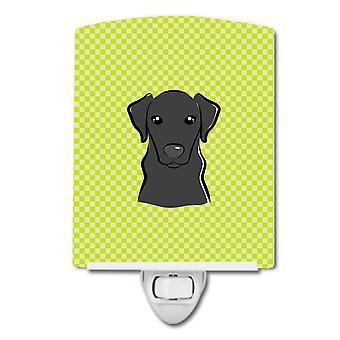 Checkerboard Lime Green Black Labrador Ceramic Night Light