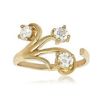 14k žlté zlato CZ kubický zirkónia simulované Diamond top nastaviteľné kvety telo šperky Toe prsteň šperky Darčeky pre ženy