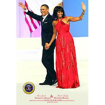 President Barack Obama & First Lady Michelle Obama hälsning på 57: e konstituerande Ball Washington DC 2013 affisch Skriv ut (24 x 36)