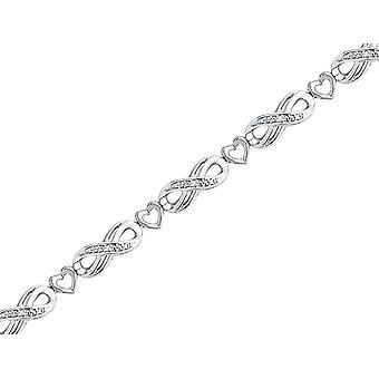 Sterling Silver Diamond Fahion Heart Infinity Bracelet 1/20 Carat (ctw J-K I2-I3)