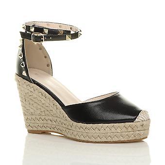 Ajvani naisten suuri kiila nastoitettu nilkka hihna espadrillosten kengät sandalit