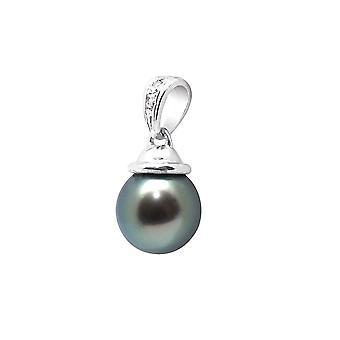 Pendentif Perle de Tahiti, Diamants et Argent 925/1000