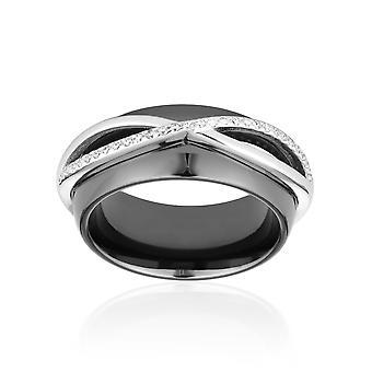 Zwart, zilver en Crystal Slite Cubic Zirconia 3873