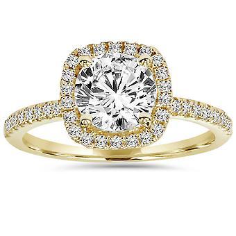 1 3/4ct Cushion Halo Clarity Enhanced Diamond Engagement Ring 14K Yellow Gold