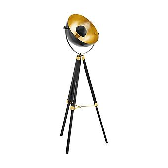 Eglo Brass And Black Wood Tripod Floor Lamp With Gold Leaf Dome